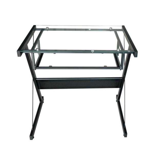 proHT Black Modern Style Computer Desk with Keyboard Tray and Glass Top