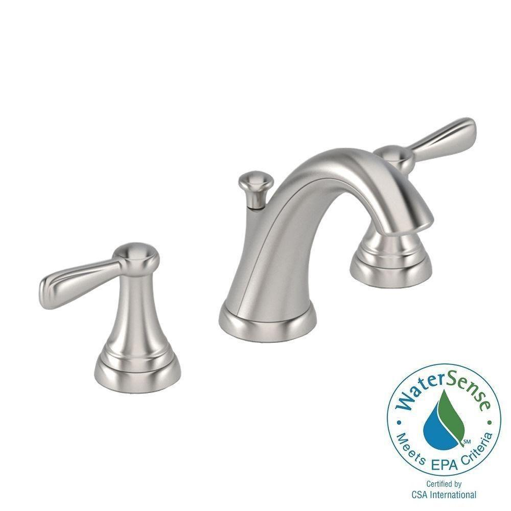 Widespread 2-Handle Mid-Arc Bathroom Faucet in Brushed Nickel-7768SF - The Home  Depot