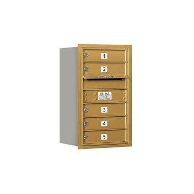 3700 Series 27 in. 7 Door High Unit Gold USPS Rear Loading 4C Horizontal Mailbox with 5 MB1 Doors