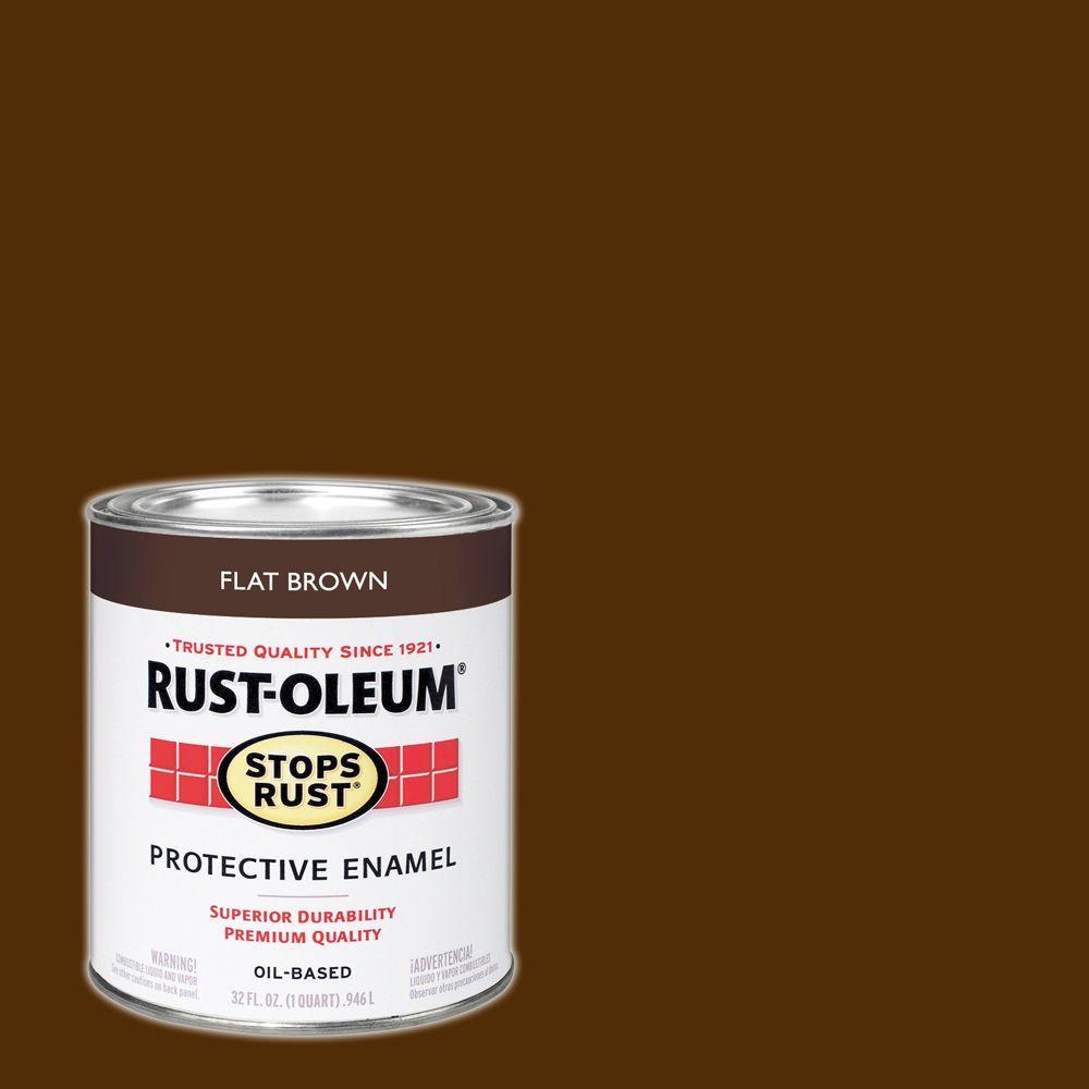 1 qt. Protective Enamel Flat Brown Interior/Exterior Paint
