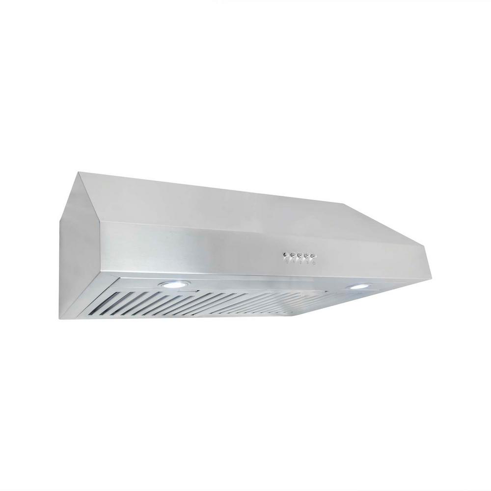 under cabinet range hood in stainless steel with led lighting and permanent filtersuc30 the home depot