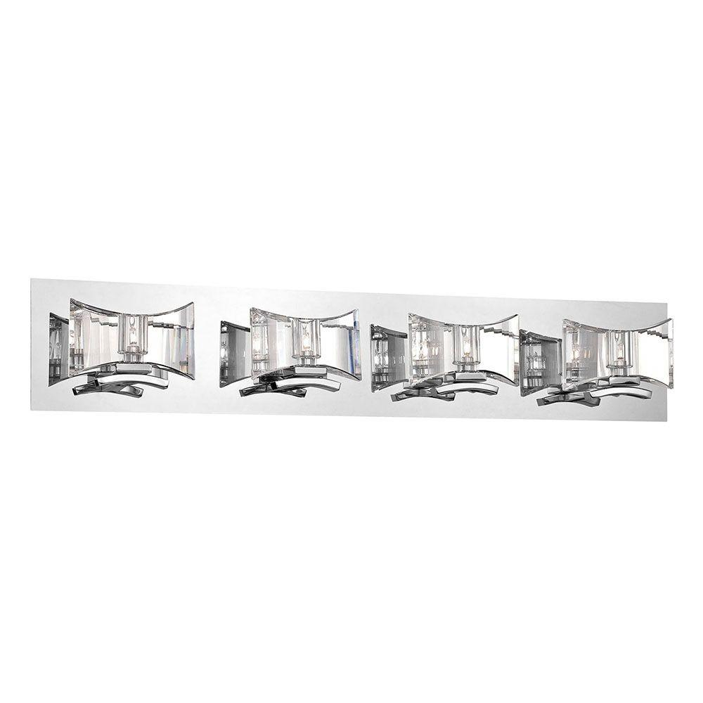 Eurofase Uzo Collection 4-Light Chrome and Clear Bath Light