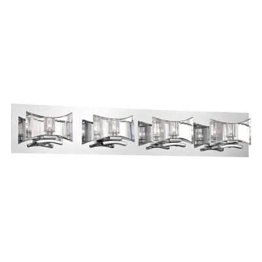 Uzo Collection 4-Light Chrome and Clear Bath Light