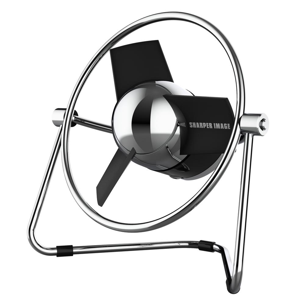 Sharper Image SBM1 USB Fan with 4.4 in. Soft Blades, 2 Speeds, Touch Control, Metal Frame, Wall Adapter, 6 ft. USB Cable