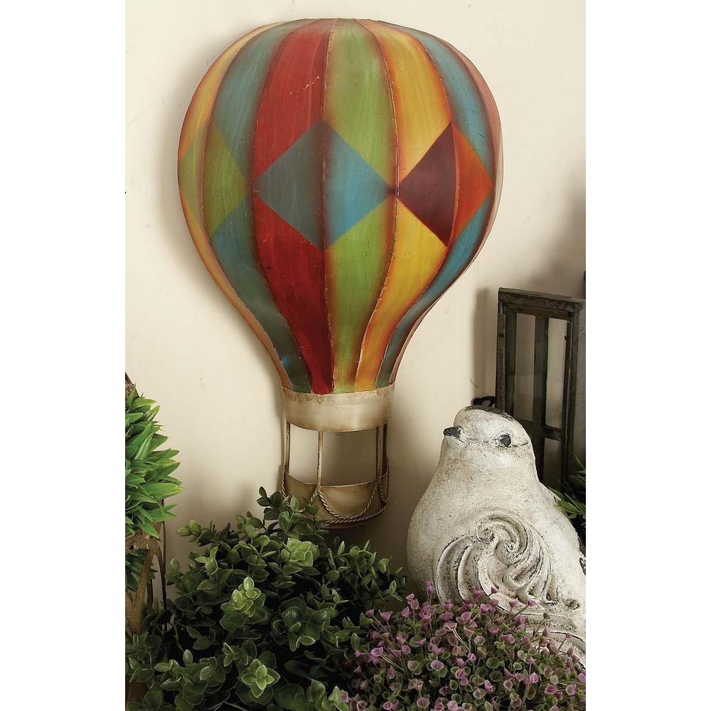 Multicolored Iron Hot Air Balloon Wall Decors Set Of 3