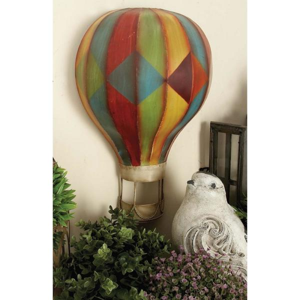 Litton Lane Multicolored Iron Hot Air Balloon Wall Decors Set Of 3