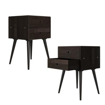 Freemont 17.72 in. Solid Wood End Tables with Drawers in Dark Espresso (Set of 2)