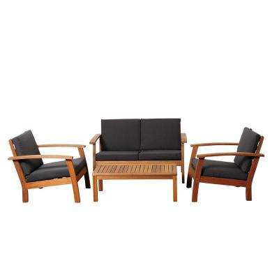 Giles 4-Piece Eucalyptus Patio Deep Seating Set with Black Cushions