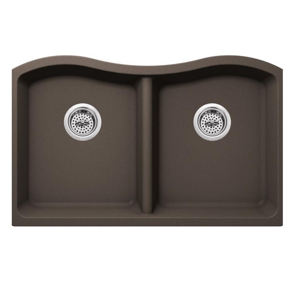 Undermount Quartz 32-1/2 in. 50/50 Double Bowl Kitchen Sink in Mocha Brown