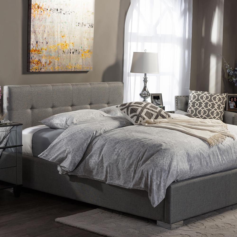 0530431cbfd Baxton Studio Regata Gray Queen Upholstered Bed-28862-6689-HD - The ...