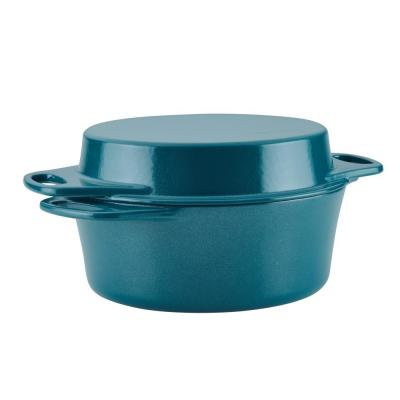 Create Delicious 4 qt. Cast Iron Casserole Dish in Teal Shimmer with Griddle Lid