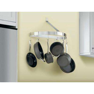 Half Circle Wall Pot Rack in Brushed Stainless
