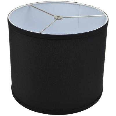 12 in. Top Diameter x 10 in. H x 12 in. Bottom Diameter Linen Black Drum Lamp Shade