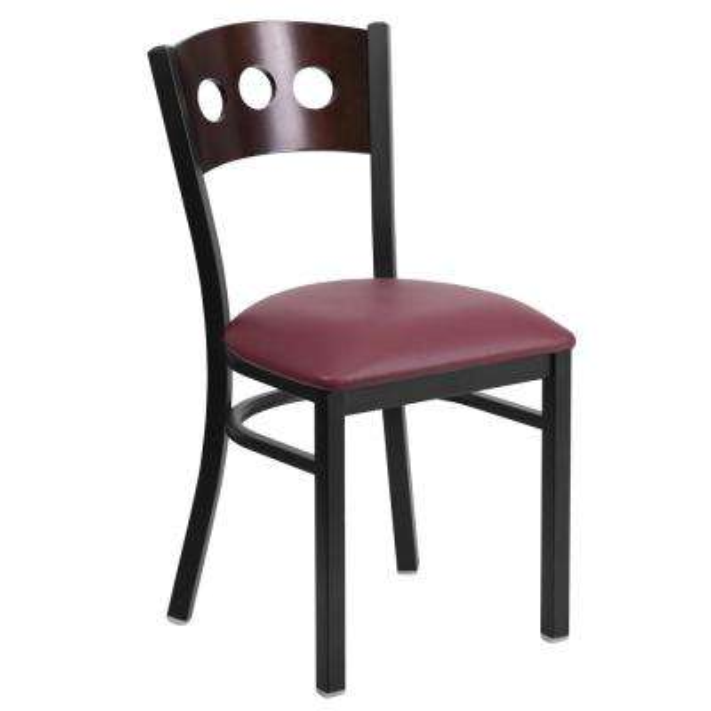 Hercules Series Black Decorative 3-Circle Back Metal Restaurant Chair with Walnut Wood Back, Burgundy Vinyl Seat