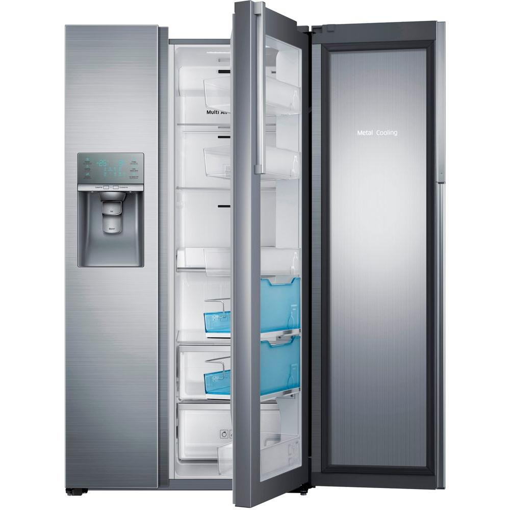 Samsung 28.5 cu. ft. Side by Side Refrigerator in Stainless Steel, Food Showcase Design