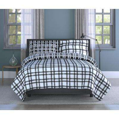 Plaid Printed Textured Microfiber 3-Piece Full Comforter Set, Comforter 80 x 88, Sham 20 x 26