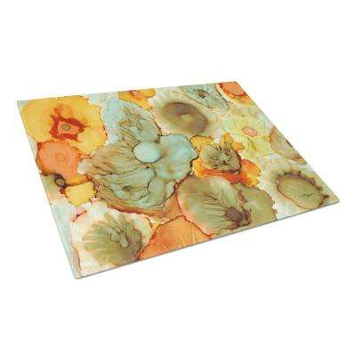 Abstract Flowers Teal and Orange Tempered Glass Large Heat Resistant Cutting Board