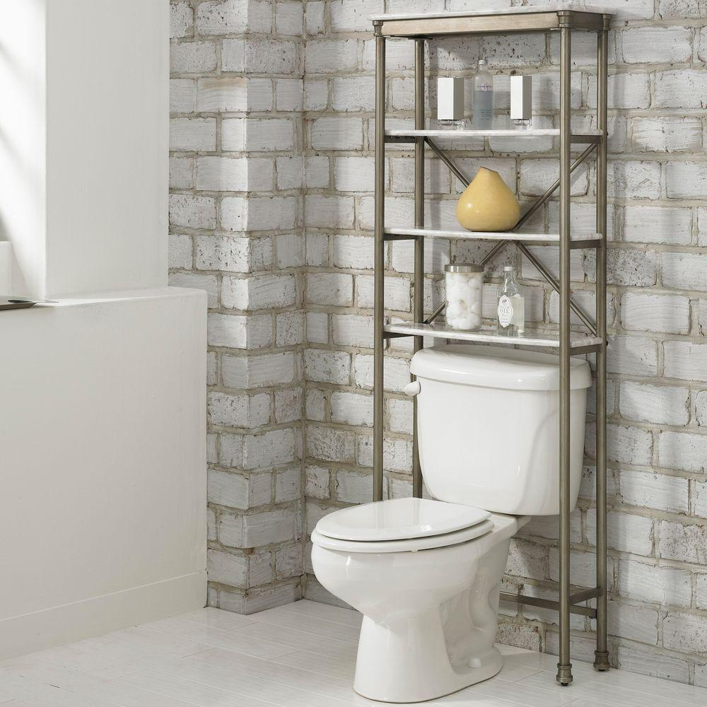Homestyles Orleans 25 In W X 64 In H X 8 1 2 In D Metal Over The Toilet Storage Space Saver In Gray