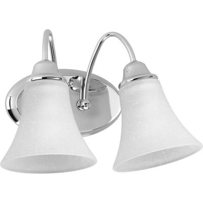 Tally Collection 2-Light Polished Chrome Bathroom Vanity Light with Glass Shades