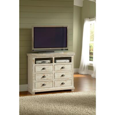 Willow 6-Drawer Distressed White Media Chest