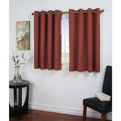 Ultimate Blackout 56 in. W x 45 in. L Polyester Short Length Blackout Window Panel in Garnet