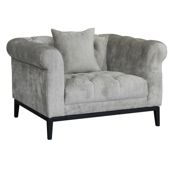 Armen Living Glamour Contemporary Beige Fabric Upholstered Accent Chair LCGL1BG