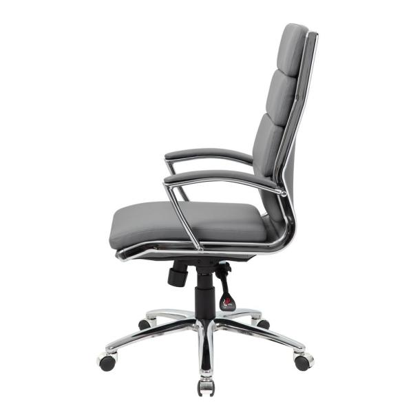 Boss Office Grey Executive Caressoftplus Chair With Metal Chrome B9471 Gy The Home Depot