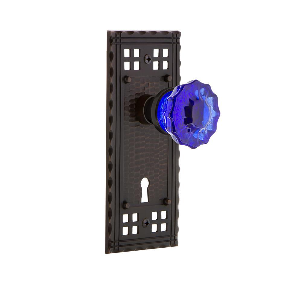 Craftsman Plate with Keyhole 2-3/8 in. Backset Timeless Bronze Privacy Crystal Cobalt Glass Door Knob