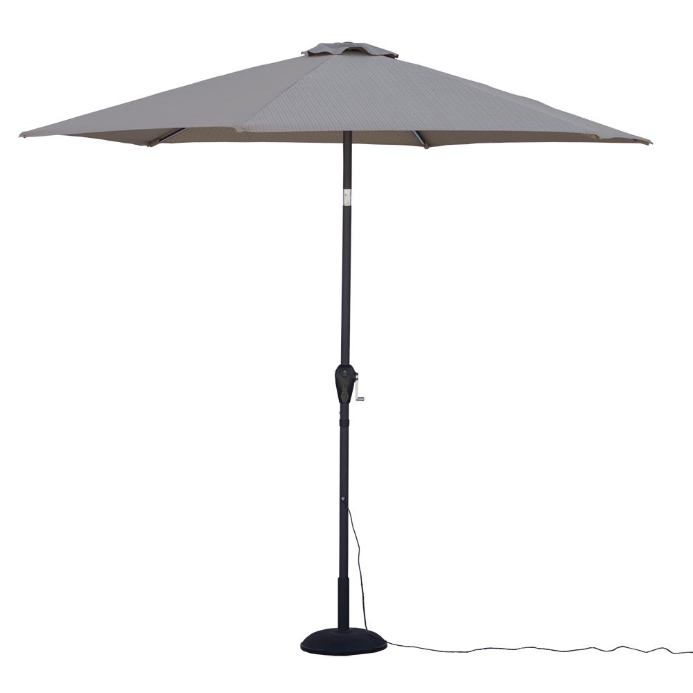 Beau 9 Ft. Round Tilting Patio Umbrella With Warm LED Lights In Striped Khaki