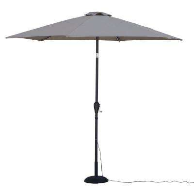 9 ft. Round Tilting Patio Umbrella with Warm LED Lights in Striped Khaki