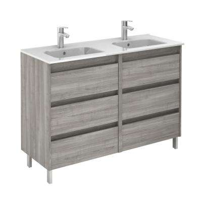 Sansa 48 in. W x 18 in. D Vanity in Sandy Grey with Ceramic Vanity Top in White