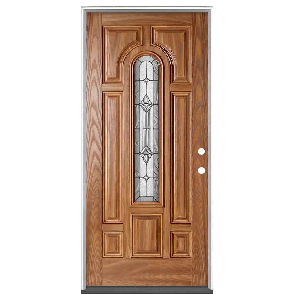 Masonite 36 in. x 80 in. Providence Pecan Right Hand Inswing Center Arch Stained Fiberglass Prehung Front Door No Brickmold