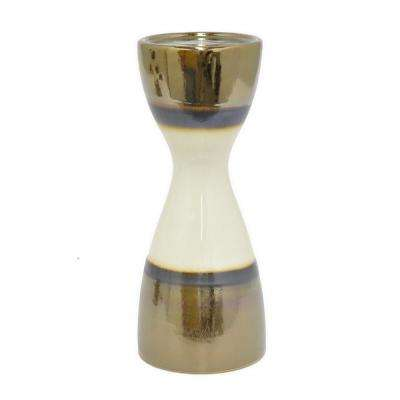 12 in. Decorative Gold and Ivory Ceramic Candle Holder with Glossy