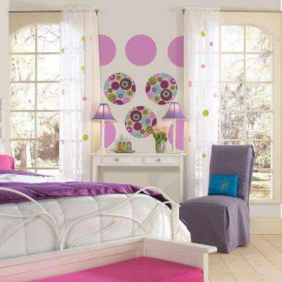 13 in. x 13 in. Purple Perk Dot 10-Piece Wall Decal