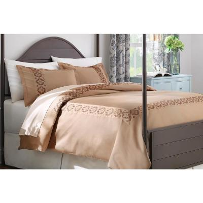 Reinhart 3-Piece Khaki Embroidered Duvet Cover Set