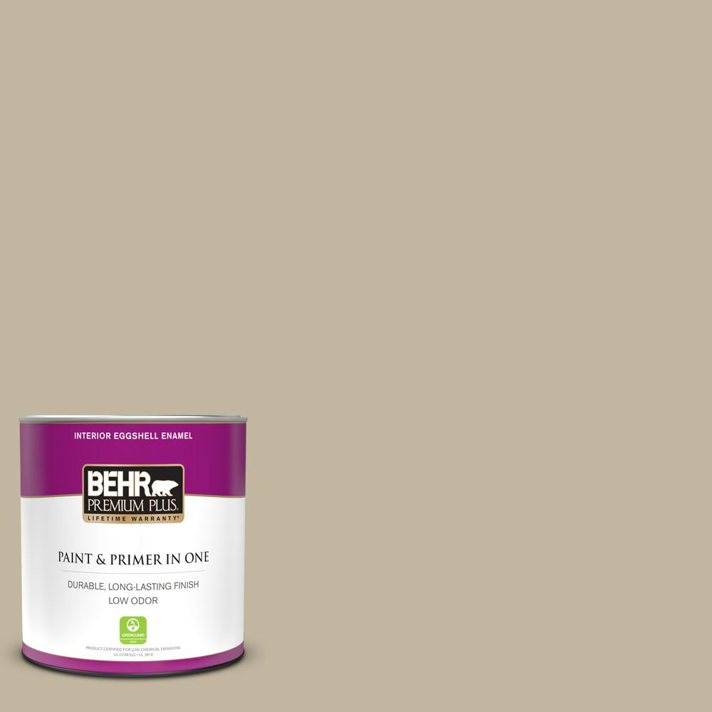 Behr Premium Plus 1 Qt Home Decorators Collection Hdc Nt 09 Basic Khaki Eggshell Enamel Low Odor Interior Paint And Primer 240004 The Home Depot