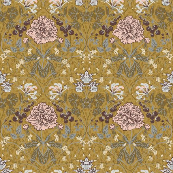 Celestine Mustard Floral Paper Strippable Roll (Covers 56.4 sq. ft.)
