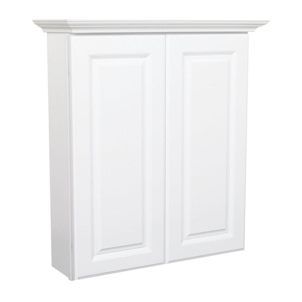 MasterBath Raised Panel 24 in. W Bath Storage Cabinet in Satin White