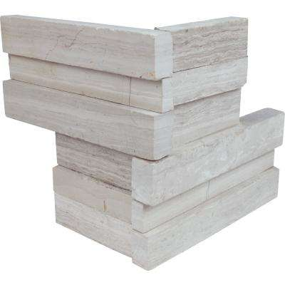 White Oak 3D Ledger Corner 6 in. x 6 in. x 6 in. Honed Marble Wall Tile (2.5 sq. ft. / case)