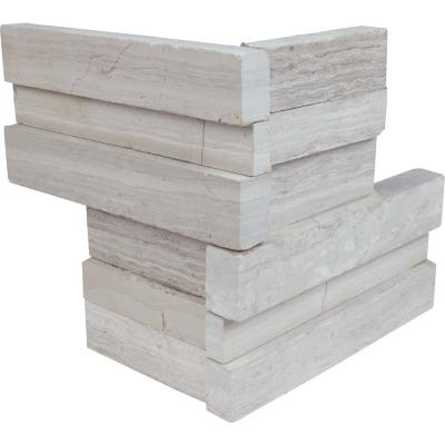White Oak 3D Ledger Corner 6 in. x 6 in. x 6 in. Honed Marble Wall Tile (2.5 sq. ft./case)
