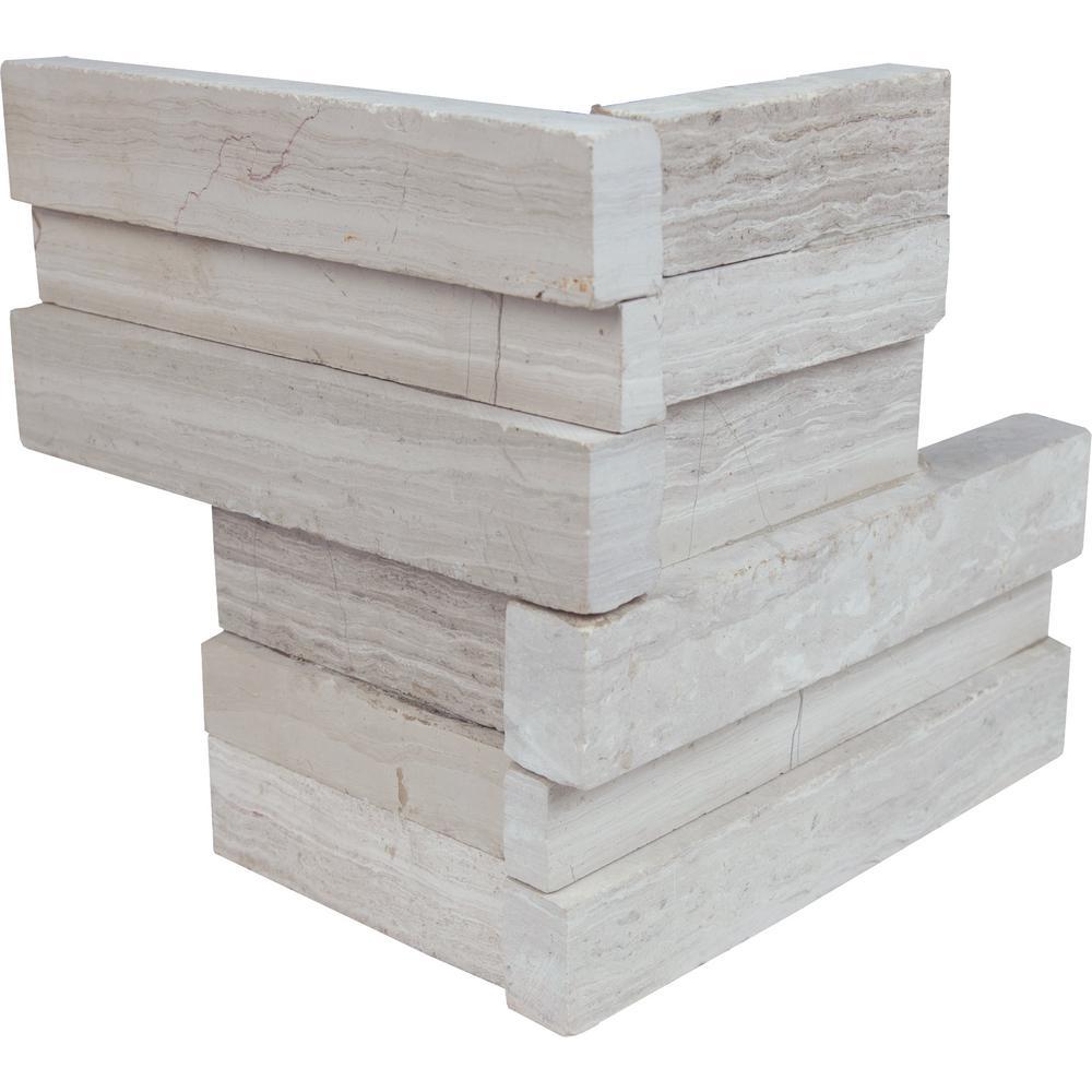 White Oak 3D Ledger Corner 6 in. x 6 in. x 6 in. Honed Marble Wall Tile (2.5 sq. ft./case)