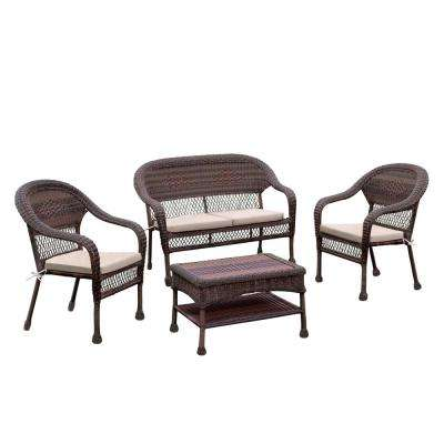 Morris 4-Piece Aluminum and Wicker Patio Seating Set with Ivory Cushions