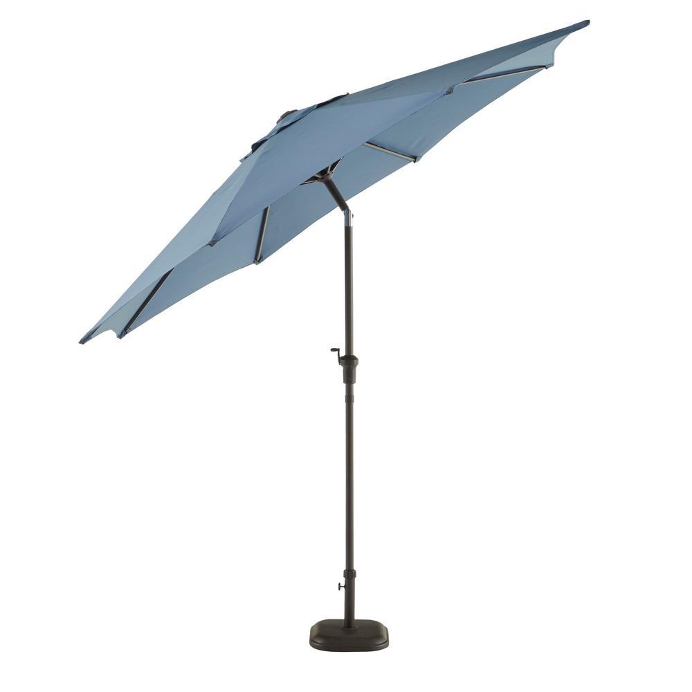 9 ft. Riverbrook Steel Espresso Brown Market Crank and Tilt Outdoor Patio Umbrella in Denim Blue