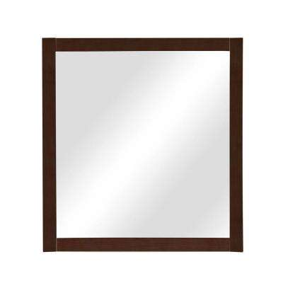 Alexandra 32 in. x 30 in. Birch Framed Wall Mirror in Mahogany