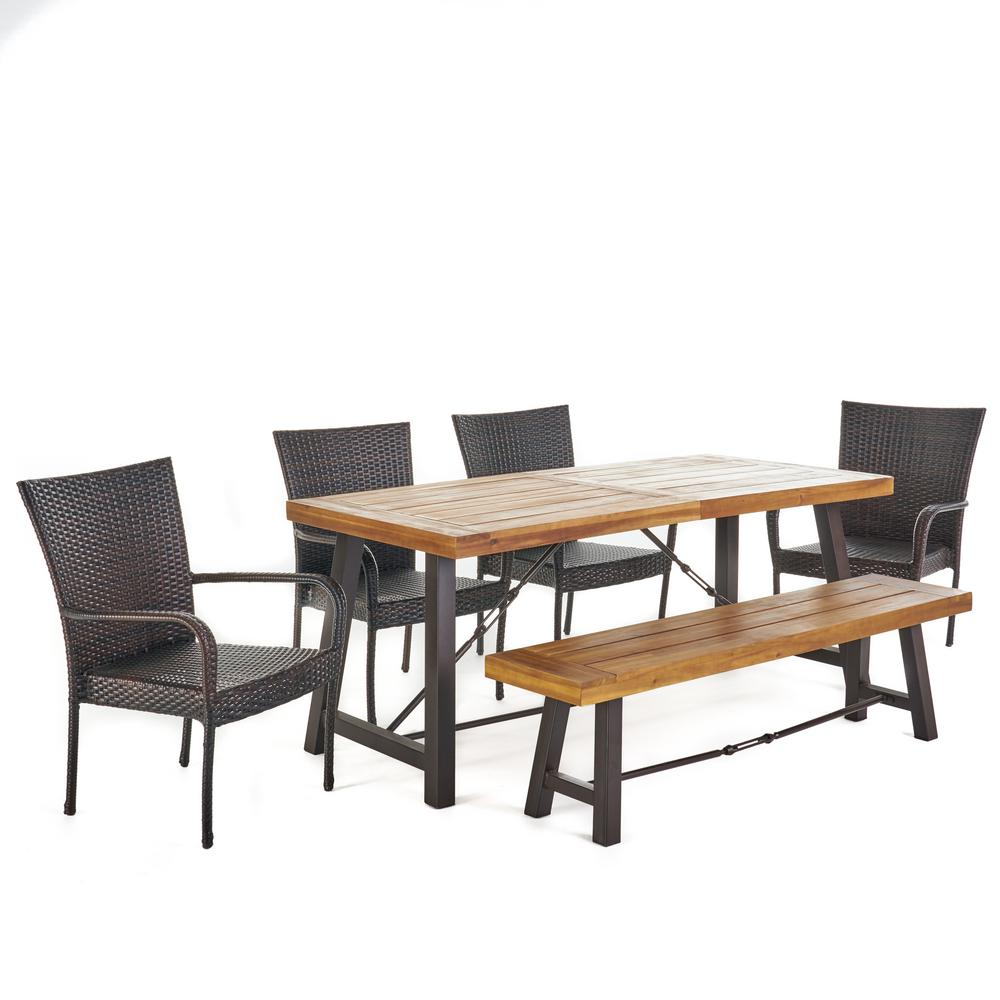 Le House Eloise 6 Piece Wood Rectangular Outdoor Dining Set With Stacking Chairs And Bench