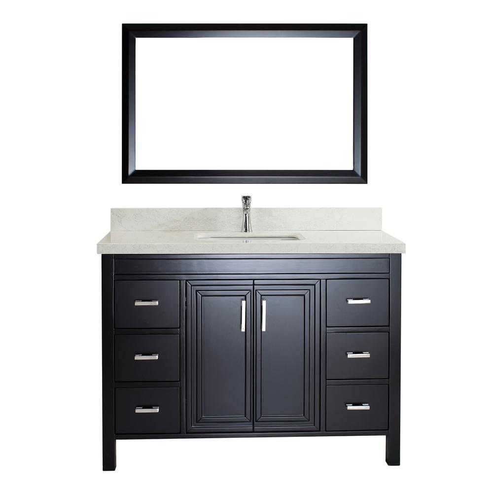 Studio Bathe Dawlish 48 in. W x 22 in. D Vanity in Espresso with Engineered Vanity Top in White with White Basin and Mirror