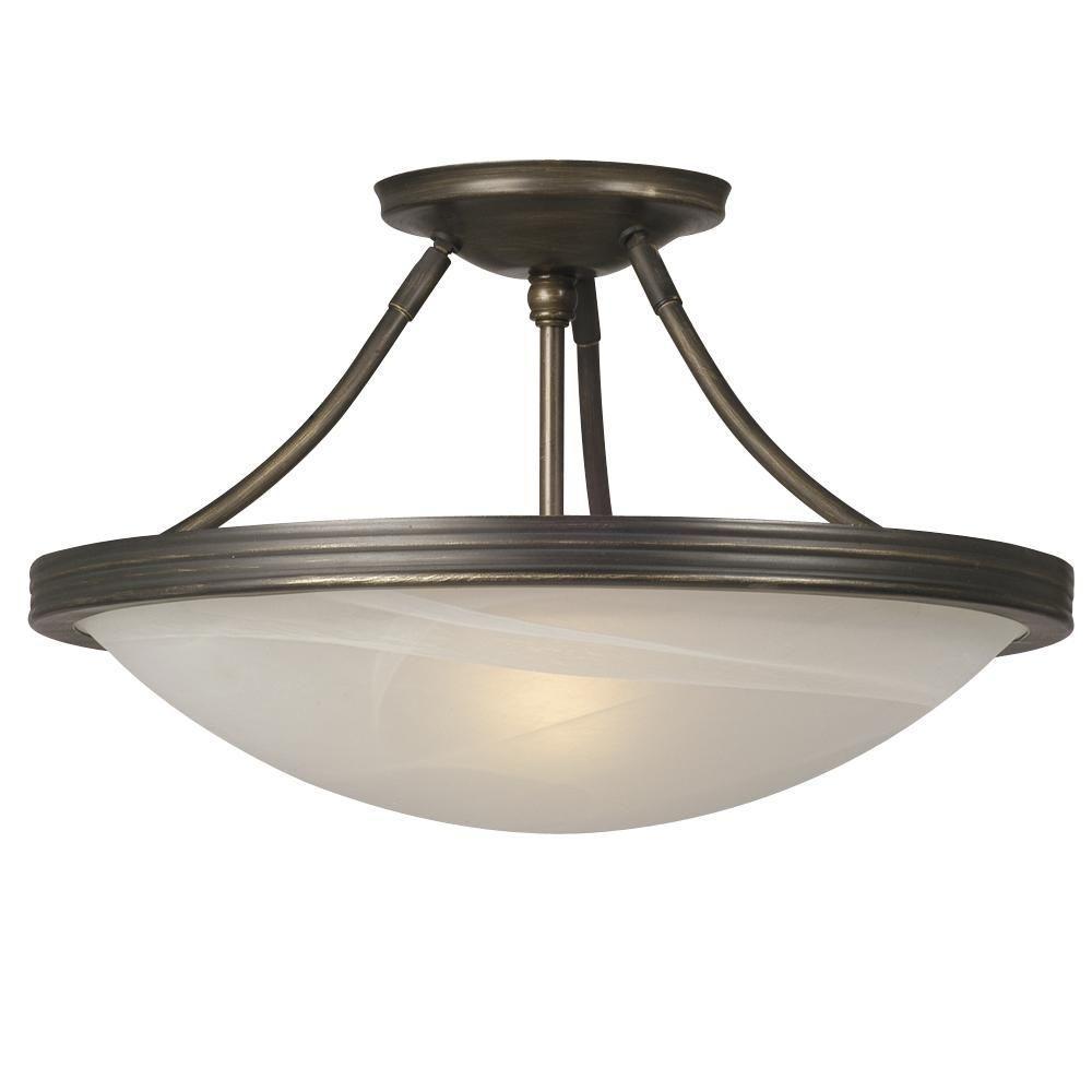 Filament design negron 3 light oil rubbed bronze incandescent semi flush mount cli xy5205828 - Home depot kitchen lights ...