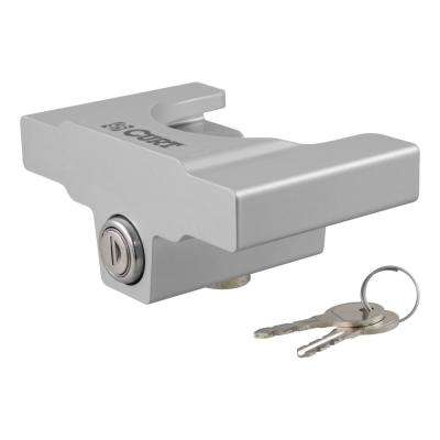 "Trailer Coupler Lock for 2"" or 2-5/16"" Flat Lip Couplers (Grey Aluminum)"