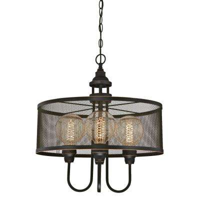 Walter 4-Light Oil Rubbed Bronze with Highlights Chandelier with Mesh Shade