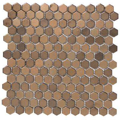 Confetti Bronze 11.81 in. x 11.81 in. x 8mm Porcelain Mesh-Mounted Mosaic Tile (1.02 sq. ft.)